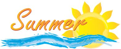 Free Summer Fun Graphic With Sun And Waves Royalty Free Stock Photography - 119324487