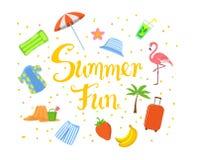 Summer fun hand written summertime beach  background with banana , strawberry, man hawaii shirt and trunks, suitcase, palm tree, Stock Photos