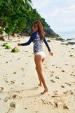 Summer Fun. Healthy Happy Woman On Beach. Happiness, Freedom Stock Image