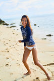 Summer Fun. Healthy Happy Woman On Beach. Happiness, Freedom Royalty Free Stock Photography