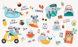 Summer Fun Illustration With Cute Characters Of Koalas And Sloths, Having Fun. Pool, Sea And Beach Summer Activities Stock Image