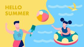 Summer Fun for Kids Postcard Flat Vector Template royalty free illustration