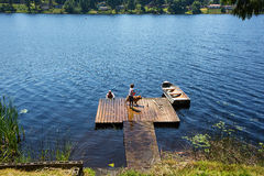 Summer fun on a lake Stock Photography