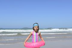 Summer fun portrait: kid  at the beach Stock Image