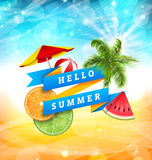 Summer Fun Poster Design with Watermelon, Umbrella, Beach Ball, Slices of Orange and Lime. Palm Tree Leaves. Banner Hello Summer - Illustration Vector Stock Images