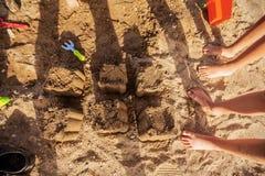 Summer Fun Sand Beach. Summer fun on beach, children playing on sand Royalty Free Stock Photos