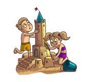 Summer fun sand castle. Cute cartoon little Happy kids Stock Photos