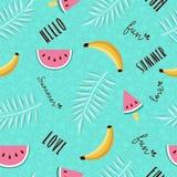 Summer fun seamless pattern of tropical fruit royalty free illustration