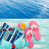 Summer fun time and accessories on blue wooden background. Mock up Stock Photo
