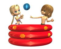 Summer fun - toon teens in the paddling pool. Digital render of a pair of cute toon teenagers playing with a beachball in an inflatable paddling pool Royalty Free Stock Image