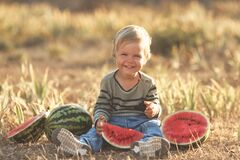 Free Summer Fun Vacation Of Little Cute Boy With Watermelon Stock Images - 216780724