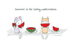 Summer fun watermelons. Hand drawn vector illustration of funny cartoon creatures in striped jump suits and hats, text Summer is for eating watermelons. Design Royalty Free Stock Photos