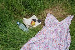 Summer fun, womans discarded dress Stock Images