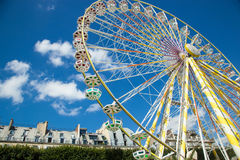 A summer funfair in the Tuileries Gardens, in the center of Par. PARIS , FRANCE - JULY 3, 2017 : Every year at the beginning of the summer, a funfair takes place stock images