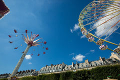 A summer funfair in the Tuileries Gardens, in the center of Par. PARIS , FRANCE - JULY 3, 2017 : Every year at the beginning of the summer, a funfair takes place royalty free stock images