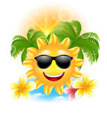 Summer Funny Background with Happy Smiling Sun, Palms, Flowers Frangipani Royalty Free Stock Images