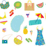 Summer funny pattern for woman with accessories Stock Image