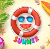 Summer funny vector concept with 3d text and summer elements Royalty Free Stock Photos