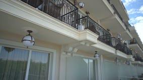 Summer furniture on balconies of a five-star hotel in Kranevo, Bulgaria stock video