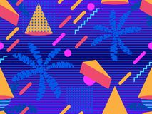 Summer futurism seamless pattern. Geometric elements memphis in the style of 80s. Retro background with palm trees. Retrowave. Vector illustration royalty free illustration