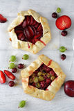 Summer galettes with berry and fruits. Food above Royalty Free Stock Image