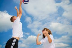 Summer game. Brother and sister play sport game Royalty Free Stock Photography