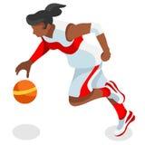 Summer Games Icon för idrottsman nen för basketspelare uppsättning isometrisk 3D Royaltyfria Bilder