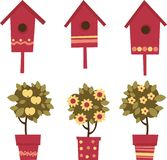 Summer in the Garden. Birdhouses and plants in pots Stock Image