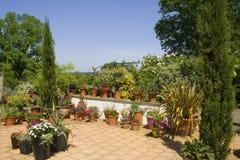 Summer Garden. A terraced garden in the sun royalty free stock photos