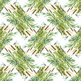 Summer Garden floral seamless pattern on white background with dragonflies Royalty Free Stock Photo