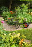Summer garden with flowers. Cleaning up summer garden full of flowers and wheelbarrow with garden-waste, plants and weeds - vertical Stock Images