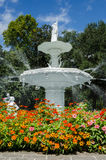 Summer Garden Fountain. A large marble fountain is surrounded by brightly colored flowers royalty free stock images