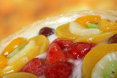 Summer Garden Fruits In A Sweet Glazed Cream Pie Dessert Royalty Free Stock Photos
