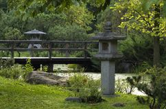 Japanese garden in the summer day Royalty Free Stock Images