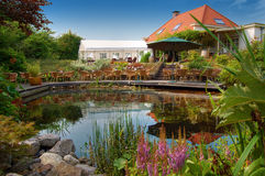 Summer garden with a pond Stock Photo