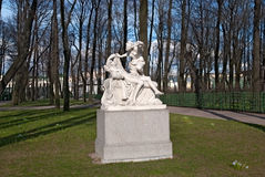 The Summer Garden in Saint-Petersburg. Russia. SAINT - PETERSBURG, RUSSIA - MAY 11, 2017: Cupid and Psyche Sculpture Group in The Summer Garden. The Summer Royalty Free Stock Photos