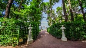 Summer garden in Saint Petersburg in spring, Russia royalty free stock image