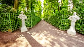 Summer garden in Saint Petersburg in spring, Russia royalty free stock photos