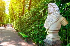 Summer garden in St Petersburg,Russia.The sculpture of The sculpture of Frederick I, Elector of Branburg,King of Prussia. St Petersburg, Russia - June 6, 2019 royalty free stock photos