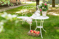 Summer garden with tea party setting. Outdoor decorations. Stock Photos