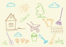 Summer garden and tools. Royalty Free Stock Images