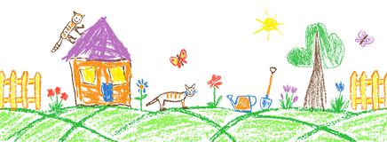 Summer garden or village seamless border. Gardening tools and funny doodle tabby cat. Like child hand drawing outdoor copy space. Crayon, pastel chalk or pencil royalty free stock images