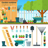 Summer Gardening Landscape in Cartoon Style Stock Photo