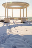 Summer gazebo in the snow-covered promenade of Pomorie in Bulgaria, winter 2017 Stock Photography