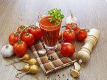 Summer gazpacho soup with vegetables. On wooden table Stock Photography