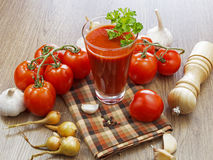 Summer gazpacho soup with vegetables. On wooden table Stock Photo