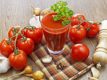 Summer gazpacho soup with vegetables. On wooden table Stock Image
