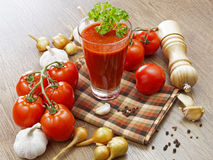 Summer gazpacho soup with vegetables. On wooden table Stock Photos