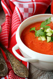 Summer gazpacho in white tureen Royalty Free Stock Photo