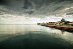Summer Gentle Rain at the Port of Thessaloniki Stock Photo
